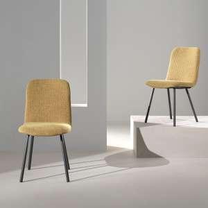 Chaise coque en tissu jaune rembourrée et pieds en métal - Suzy