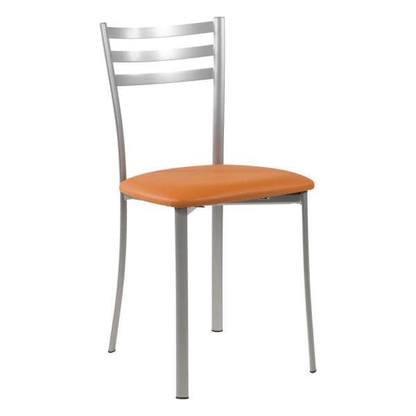 Chaise de cuisine en métal satiné assise cognac - Ace 1320 - 22