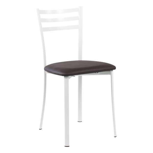 Chaise de cuisine en métal blanc assise marron moka - Ace 1320 - 24