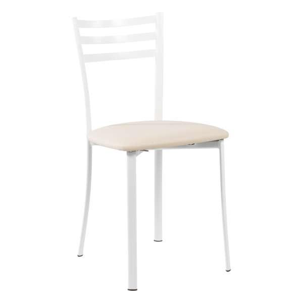 Chaise de cuisine en métal blanc assise noisette - Ace 1320 - 25