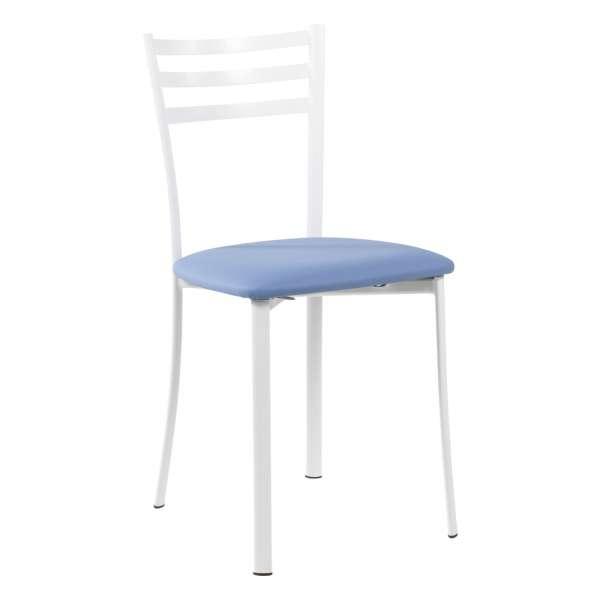 Chaise de cuisine en métal blanc assise bleue - Ace 1320 - 26