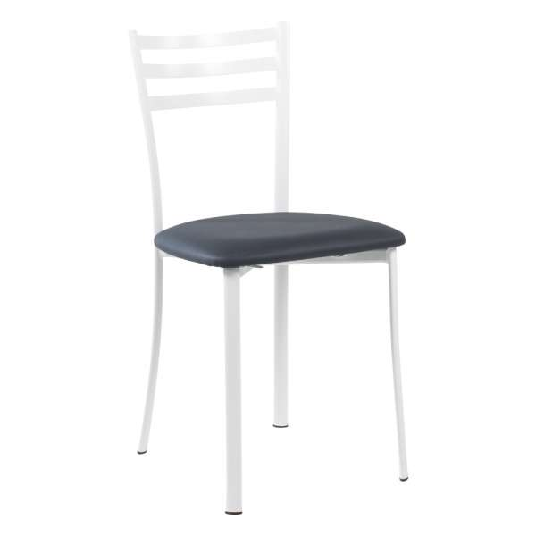 Chaise de cuisine en métal blanc assise anthracite - Ace 1320 - 27