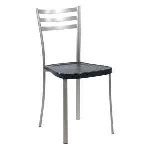 Chaise de cuisine en métal satiné avec assise en polypropylène noir - Ace 1320