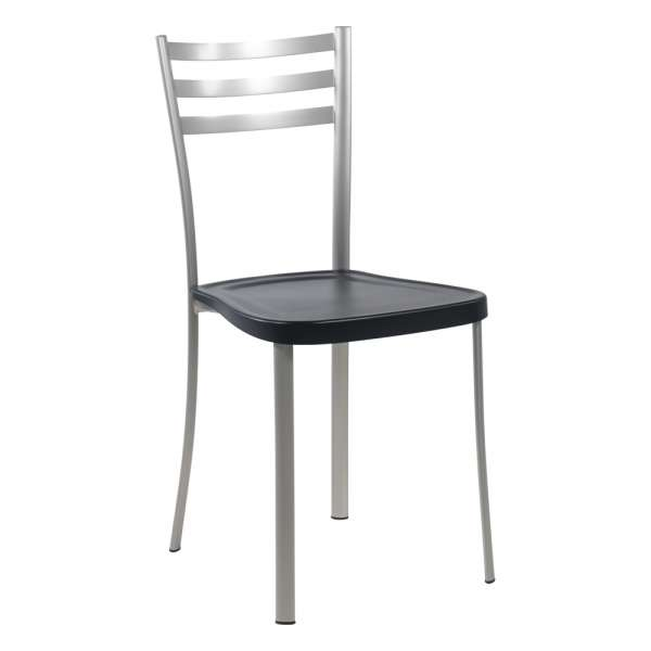 Chaise de cuisine en métal satiné avec assise en polypropylène noir - Ace 1320 - 9