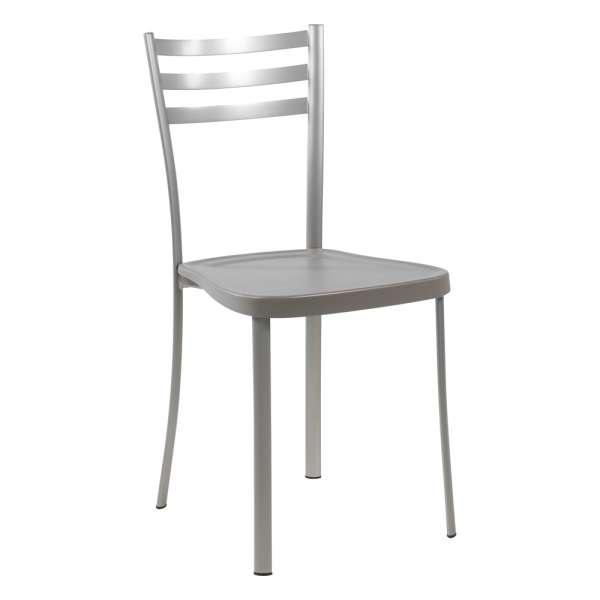 Chaise de cuisine en métal satiné avec assise en polypropylène taupe - Ace 1320 - 11