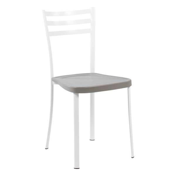 Chaise de cuisine en métal blanc avec assise en polypropylène taupe - Ace 1320 - 15