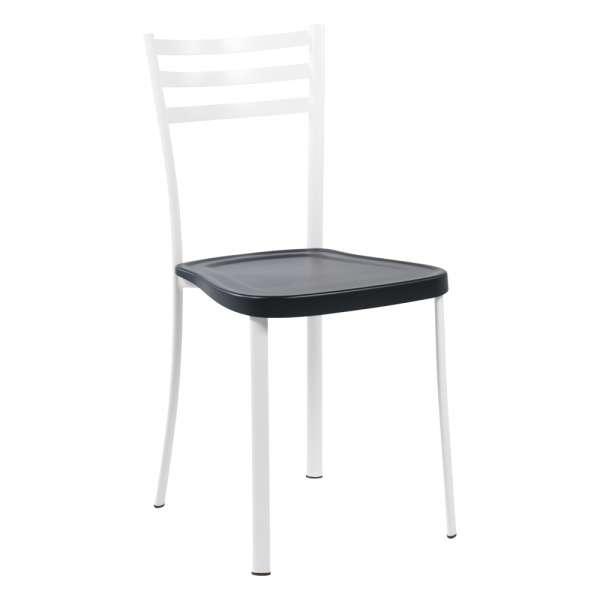 Chaise de cuisine en métal blanc avec assise en polypropylène noir - Ace 1320 - 13
