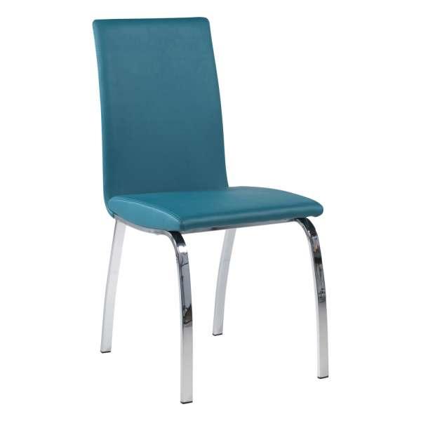 Chaise de salle à manger rembourrée turquoise avec pieds en métal chromé - Dara - 6