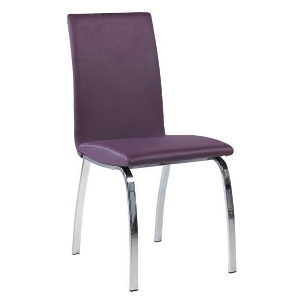 Chaise de salle à manger coloris violet avec pieds en métal chromé - Dara - 7