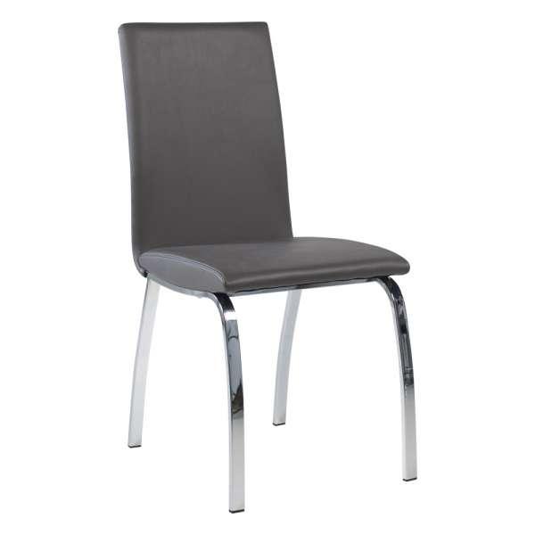 Chaise de salle à manger rembourrée grise avec pieds en métal chromé - Dara - 8