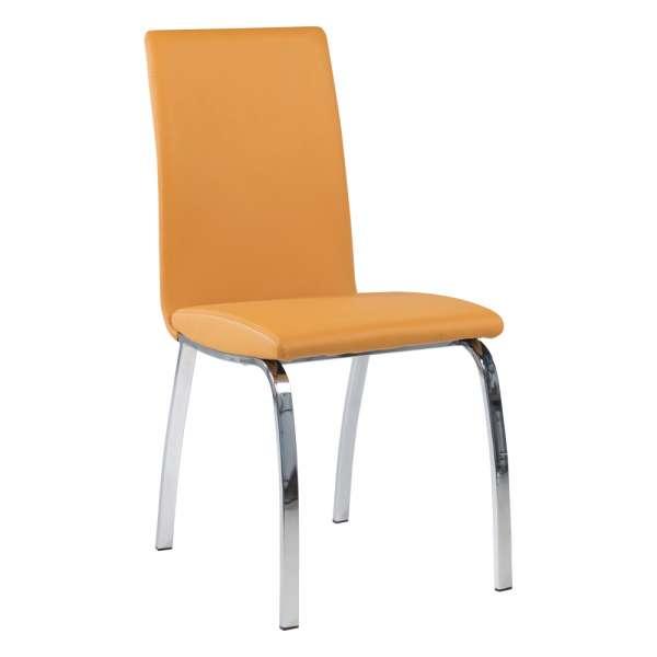 Chaise de salle à manger rembourrée jaune avec pieds en métal chromé - Dara - 9