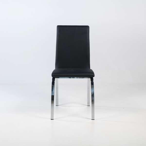 Chaise de séjour rembourrée noire avec pieds en métal chromé - Dara - 2