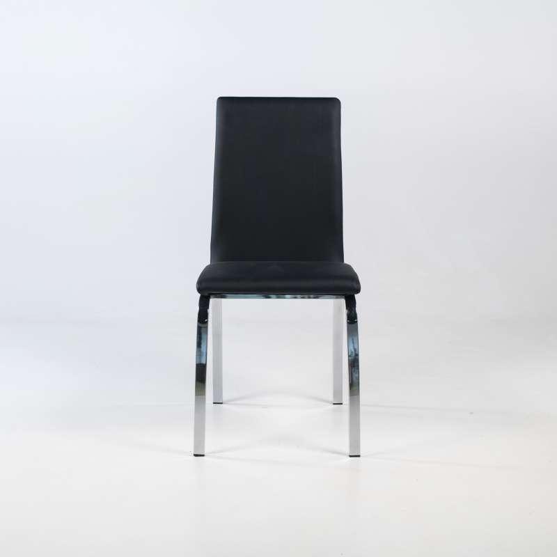 chaises de salle à manger noire pieds chromés