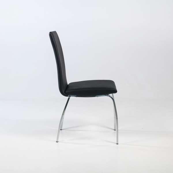 Chaise de salle à manger rembourrée avec pieds en métal chromé - Dara - 3