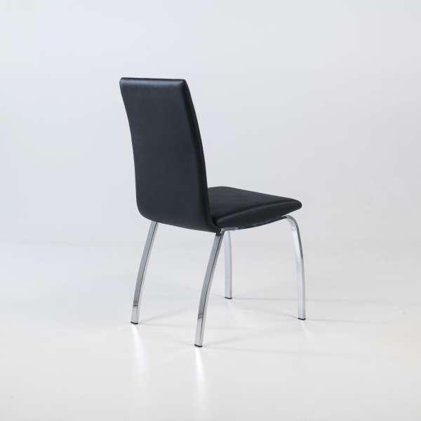 Chaise de salle à manger noire avec pieds chromés - Dara - 4