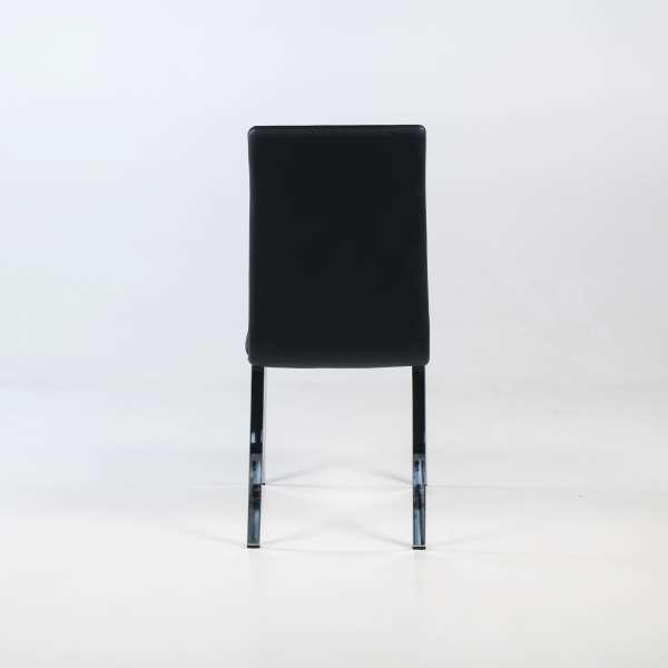 Chaise de séjour noire avec pieds chromés - Dara - 5
