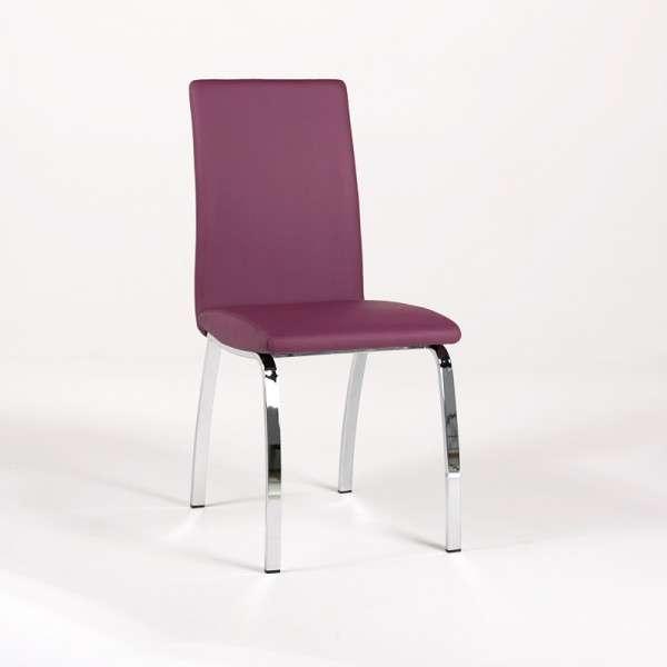 Chaise de salle à manger rembourrée pourpre avec pieds en métal chromé - Dara - 10