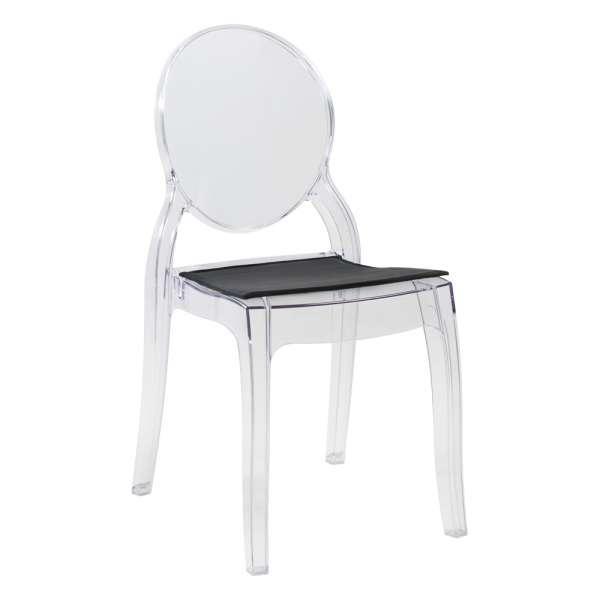 Chaise design en plexi transparent avec coussin noir Elizabeth - 33