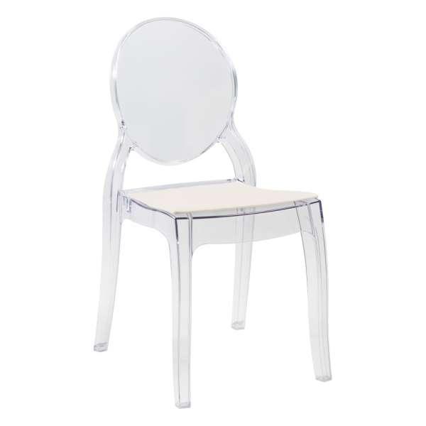 Chaise design en plexi transparent avec coussin beige Elizabeth - 34