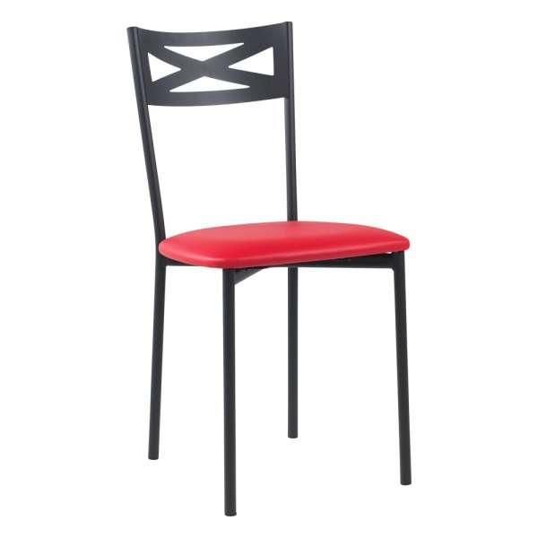 Chaise de cuisine contemporaine en métal carbon 58 assise rembourrée rouge - Kelly - 24