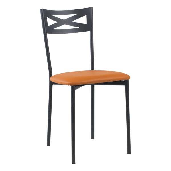 Chaise de cuisine contemporaine en métal carbon 58 assise rembourrée cognac  - Kelly - 29