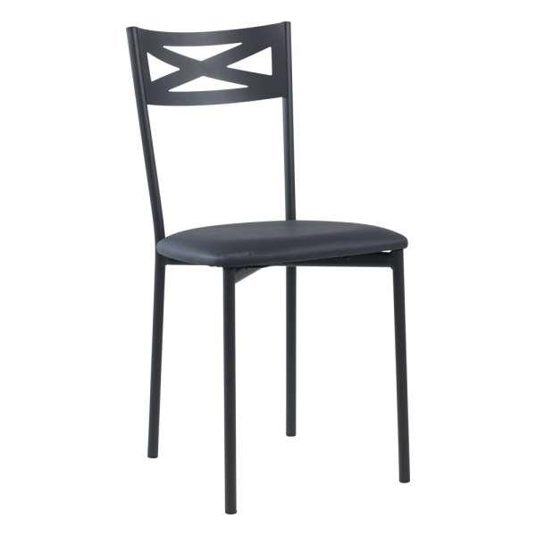 Chaise de cuisine contemporaine en métal carbon 58 assise rembourrée anthracite - Kelly - 30