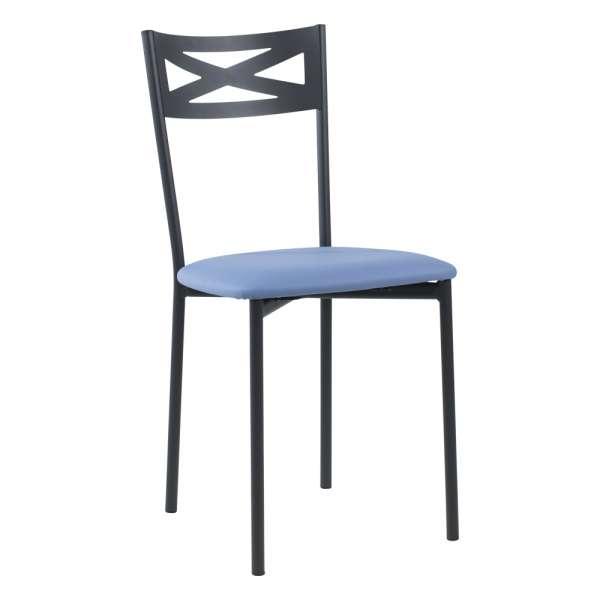Chaise de cuisine contemporaine en métal carbon 58 assise rembourrée bleue - Kelly - 32