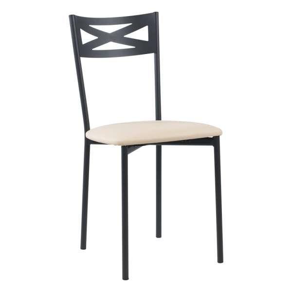 Chaise de cuisine contemporaine en métal carbon 58 assise rembourrée blanche - Kelly - 33