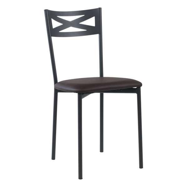 Chaise de cuisine contemporaine en métal carbon 58 assise rembourrée aubergine - Kelly - 34