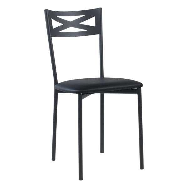 Chaise de cuisine contemporaine en métal carbon 58 assise rembourrée noire - Kelly - 35