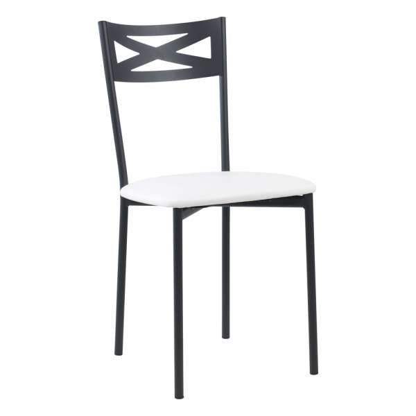 Chaise de cuisine contemporaine en métal carbon 58 assise rembourrée blanche - Kelly - 36