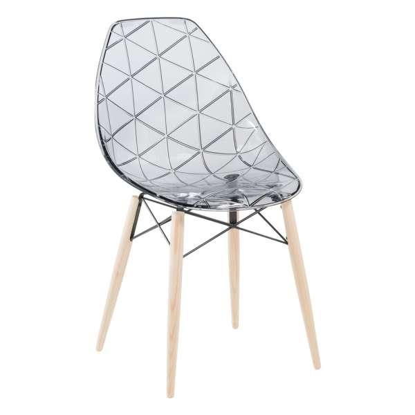 Chaise design coque transparente fumée avec pieds en bois naturel - Prisma - 6