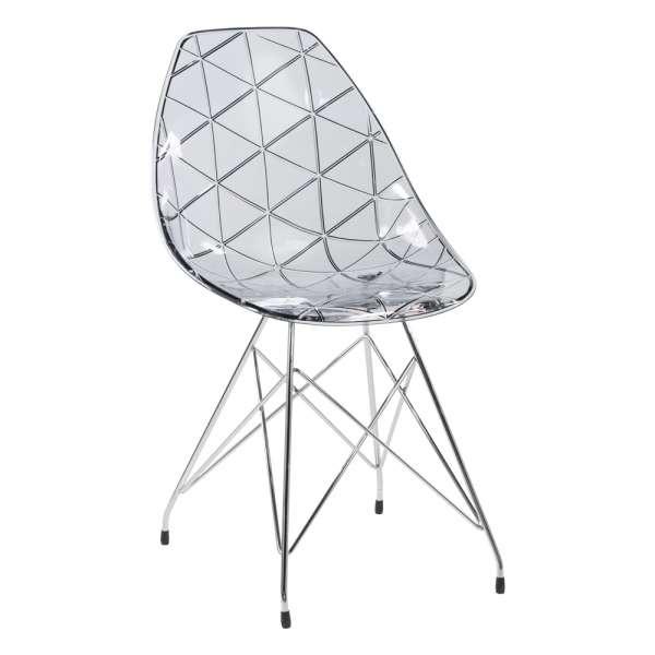 Chaise design coque transparente fumée avec pieds eiffel en métal chromé - Prisma - 7