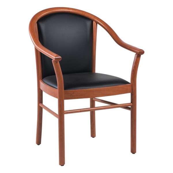 Fauteuil bridge de salon en bois avec assise et dossier noirs rembourrés - Manuela - 1