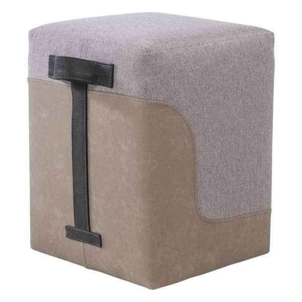 Pouf carré bicolore pour salon beige et sable - Piaf 2 - 2