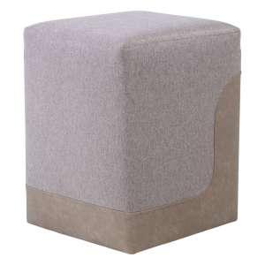 Pouf carré bicolore et bimatière beige et sable - Piaf
