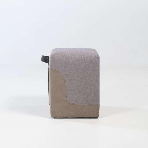 Pouf carré bicolore pour salon beige et sable - Piaf 3 - 3