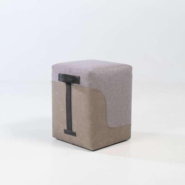 Pouf carré bicolore pour salon beige et sable - Piaf 5 - 4