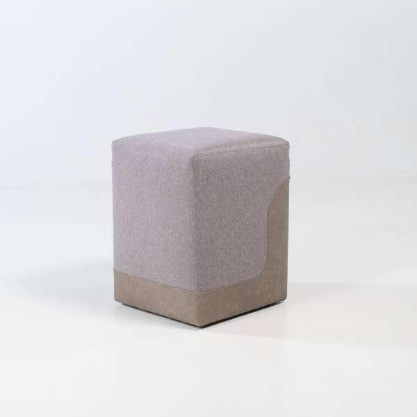 Pouf carré bicolore pour salon beige et sable - Piaf 6 - 5