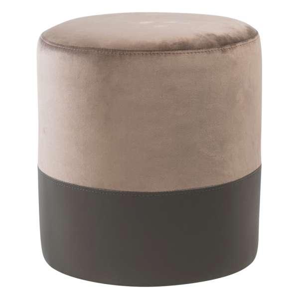 Pouf rond bicolore et bimatière gris - Edith - 1