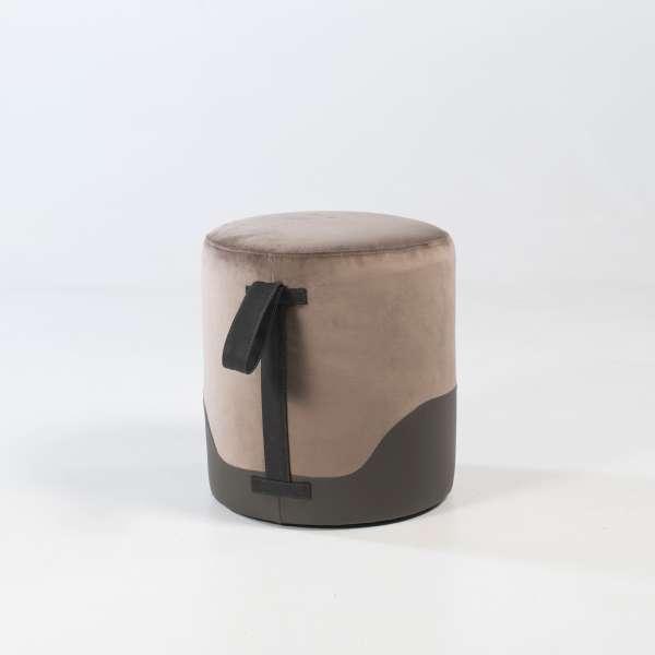 Pouf rond bicolore pour salon - Edith - 3