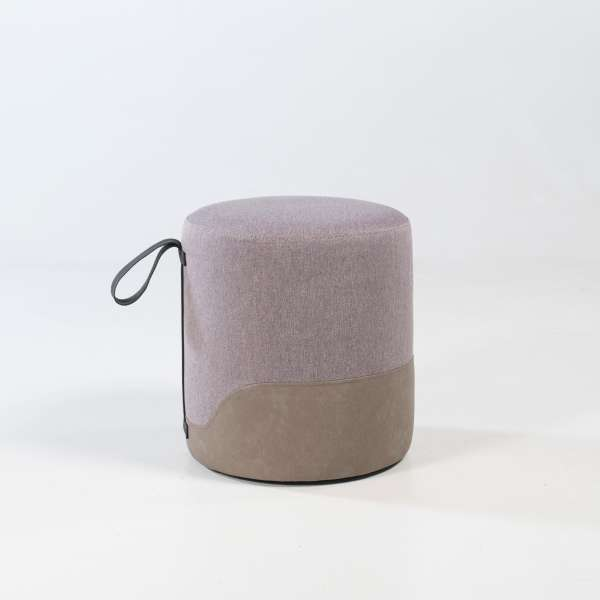 Pouf bimatière forme ronde - Edith - 10