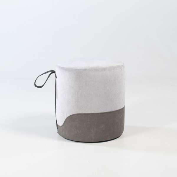 Pouf rond gris - Edith - 14