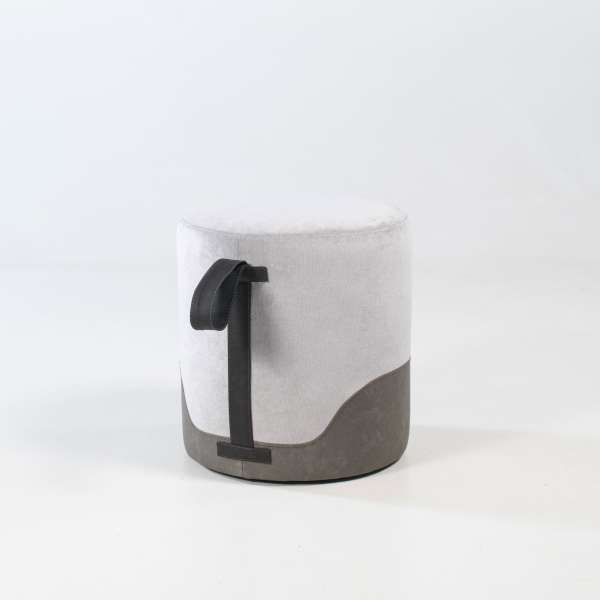 Pouf rond gris - Edith - 15