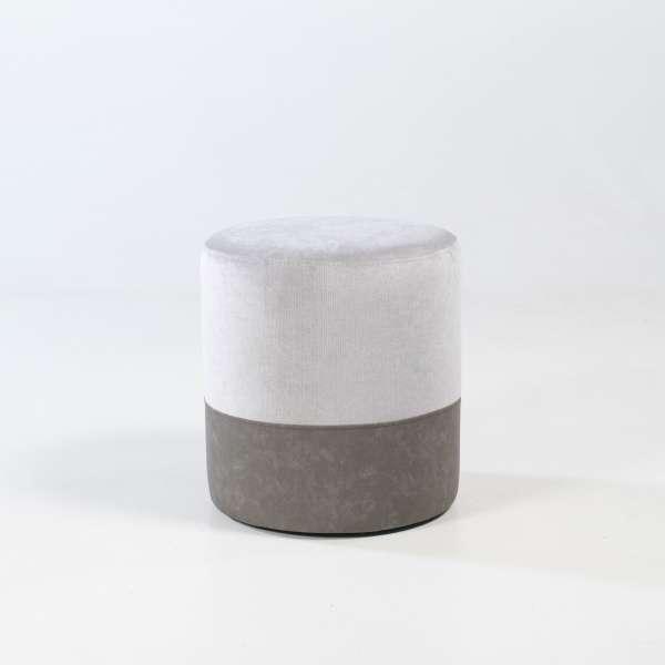 Pouf forme ronde gris - Edith - 16