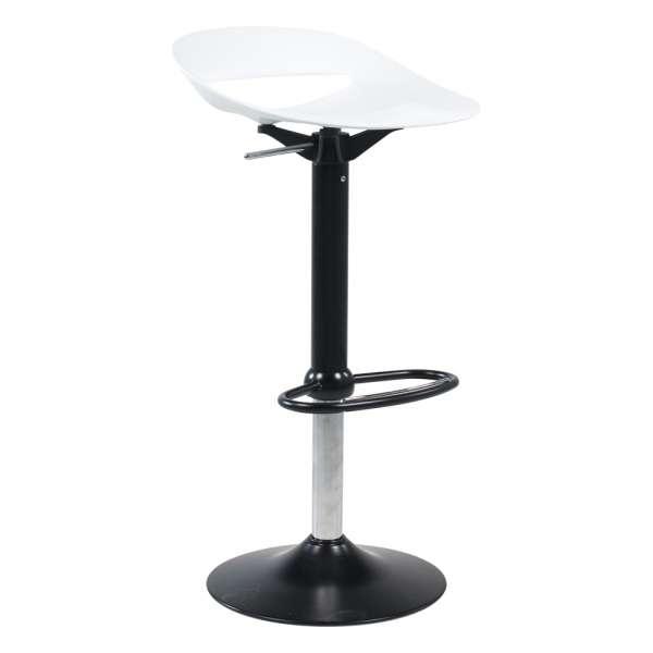 Tabouret réglable moderne sans dossier assise blanche pied central noir - Cosmopolitan Connubia® - 9