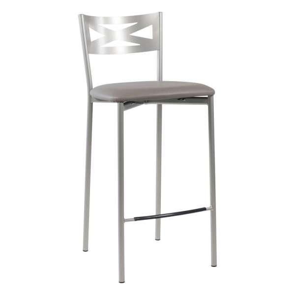 Tabouret snack de cuisine en métal satiné avec assise taupe - Kayle - 14