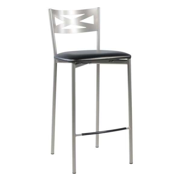 Tabouret snack de cuisine en métal satiné avec assise noir brillant - Kayle - 15