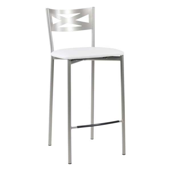 Tabouret snack de cuisine en métal satiné avec assise blanche - Kayle - 17
