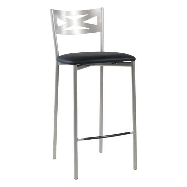 Tabouret snack de cuisine en métal satiné avec assise noire - Kayle - 18